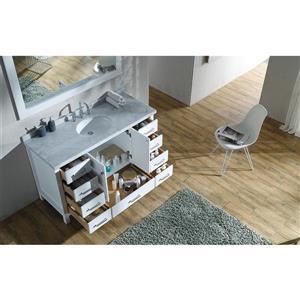 ARIEL Single Oval Sink Vanity - 9 Drawers - 55 in. - White