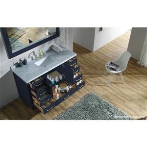 ARIEL Single Rectangle Sink Vanity - 9 Drawers - 55 in. - Blue