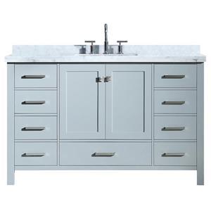 ARIEL Single Rectangle Sink Vanity - 9 Drawers - 55 in. - Grey