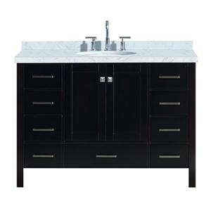 ARIEL Single Oval Sink Vanity - 9 Drawers - 49 in. - Espresso