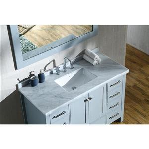 ARIEL Single Rectangle Sink Vanity - 9 Drawers - 49 in. - Grey