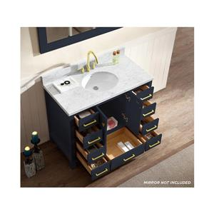 ARIEL Single Oval Sink Vanity - 9 Drawers - 43 in. - Blue