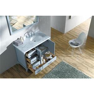 ARIEL Right Offset Single Oval Sink Vanity - 43 in. - Grey