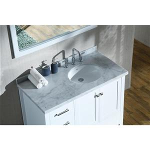 ARIEL Right Offset Single Oval Sink Vanity - 43 in. - White