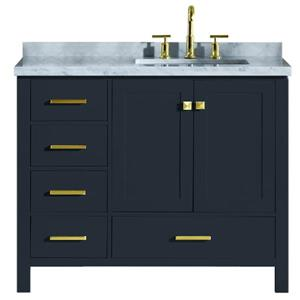 ARIEL Right Offset Single Rectangle Sink Vanity - 43 in. - Blue