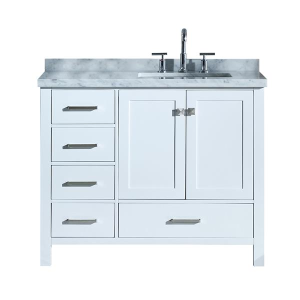 Ariel Right Offset Single Rectangle Sink Vanity 43 In White Lowe S Canada