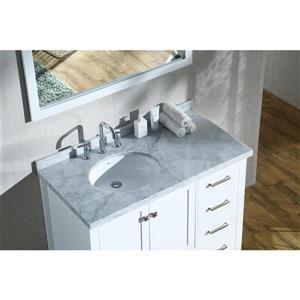 ARIEL Left Offset Single Oval Sink Vanity - 43 in. - White ...