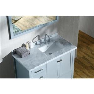 ARIEL Right Offset Single Sink Vanity - 43 in. - Grey