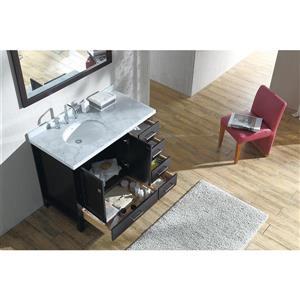 ARIEL Left Offset Single Oval Sink Vanity - 43 in. - Espresso
