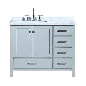 ARIEL Left Offset Single Rectangle Sink Vanity - 43 in. - Grey
