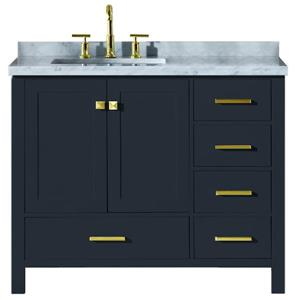 ARIEL Left Offset Single Rectangle Sink Vanity - 43 in. - Blue