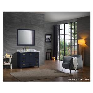 ARIEL Single Rectangle Sink Vanity - 9 Drawers - 43 in. - Blue
