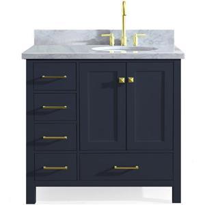 ARIEL Right Offset Single Oval Sink Vanity - 37 in. - Blue
