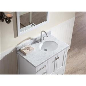 ARIEL Right Offset Single Oval Sink Vanity - 37 in. - White