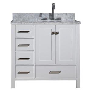 ARIEL Right Offset Single Sink Vanity - 37 in. - White