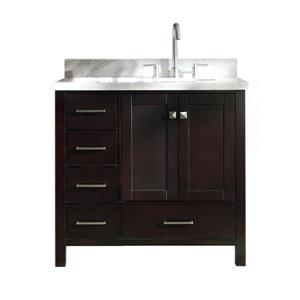 ARIEL Right Offset Single Oval Sink Vanity - 37 in. - Espresso