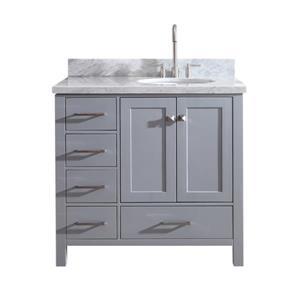 ARIEL Right Offset Single Oval Sink Vanity - 37 in. - Grey