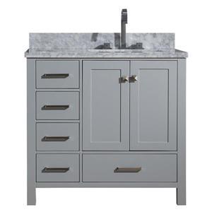ARIEL Right Offset Single Sink Vanity - 37 in. - Grey