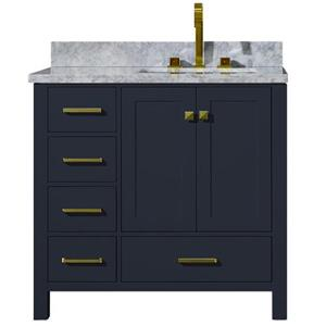 ARIEL Right Offset Single Sink Vanity - 37 in. - Blue