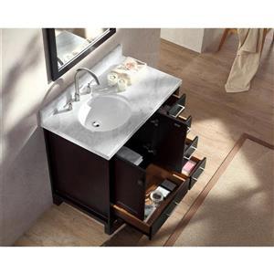 ARIEL Left Offset Single Oval Sink Vanity - 37 in. - Espresso