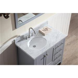 ARIEL Left Offset Single Oval Sink Vanity - 37 in. - Grey