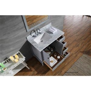 ARIEL Left Offset Single Rectangle Sink Vanity - 37 in. - Grey