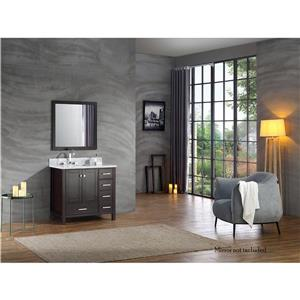 ARIEL Left Offset Single Rectangle Sink Vanity - 37 in. - Espresso