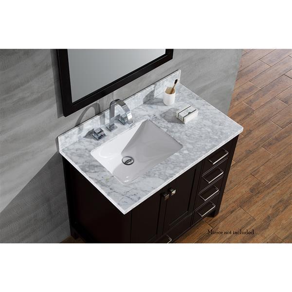 Ariel Left Offset Single Rectangle Sink Vanity 37 In Espresso Lowe S Canada