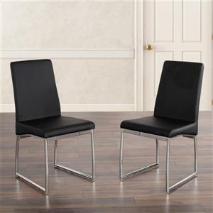 Stupendous Jake Faux Leather And Chrome Side Chairs Black Set Of 2 Download Free Architecture Designs Scobabritishbridgeorg