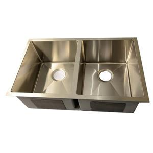 Buckler Global Undermount Double Square Kitchen Sink - Stainless Steel