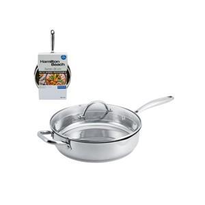"Hamilton Beach Heavy Duty Stainless Steel Saute Pan With Lid, 11"""