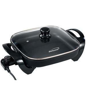 """Brentwood Electric Skillet with Glass Lid - Black - 12"""""""