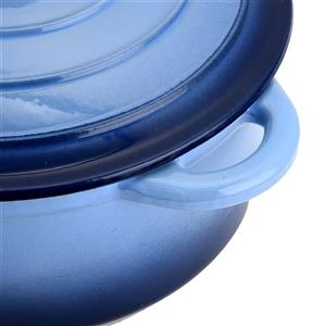 Hamilton Beach Round Dutch Oven Pot, Cast Iron, Blue