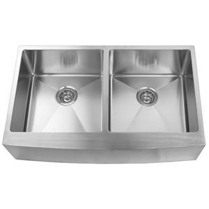 Elegant Stainless Farmhouse/Apron Double Kitchen Sink - 36-in - Stainless Steel