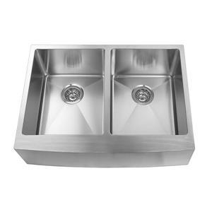 Elegant Stainless Farmhouse/Apron Double Kitchen Sink - 30-in - Stainless Steel