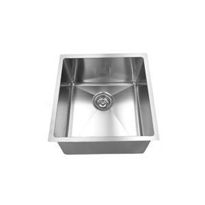 Elegant Stainless Single Undermount Sink - 17.75-in - Stainless Steel - Nickel