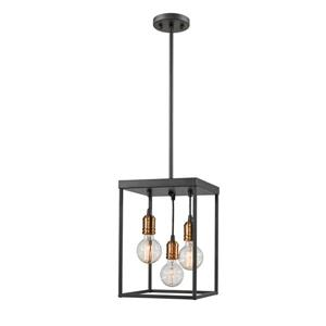 Z-Lite Troubadour 3-Light Pendant - 10-in  - Bronze