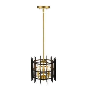 Z-Lite Haake 3-Light Mini Pendant - 10-in  - Satin Brass/Black