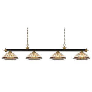 Z-Lite Riviera 4-light Kitchen Island Light - Bronze/Satin Gold