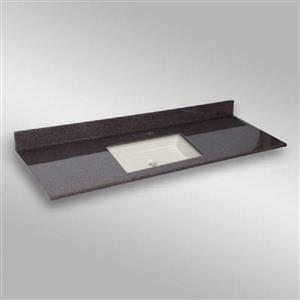 The Marble Factory 61-in x 22-in Bathroom Vanity Top with Square Sink - Espresso
