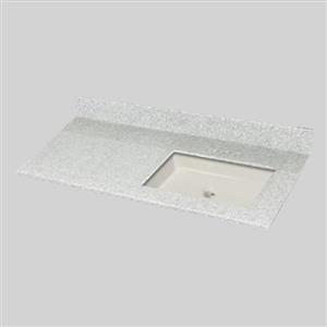 The Marble Factory 49-in x 22-in Bathroom Vanity Top with Square Sink - Willow Mist