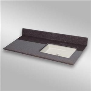The Marble Factory 49-in x 22-in Bathroom Vanity Top with Square Sink - Espresso