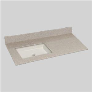 The Marble Factory 49-in x 22-in Bathroom Vanity Top with Square Sink - Irish Cream