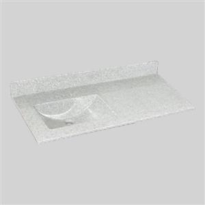 The Marble Factory 49-in x 22-in Bathroom Vanity Top with Integral Sink - Willow Mist