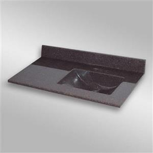 The Marble Factory 37-in x 22-in Bathroom Vanity Top with Integral Sink - Espresso