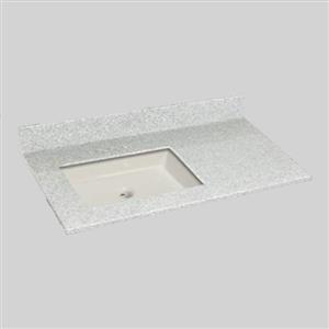 The Marble Factory 37-in x 22-in Bathroom Vanity Top with Undermount Sink - Willow Mist
