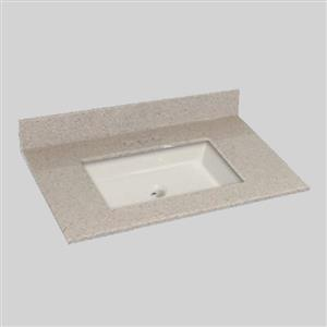 The Marble Factory 37-in x 22-in Bathroom Vanity Top with Square Sink - Irish Cream