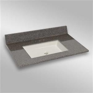 The Marble Factory 37-in x 22-in Bathroom Vanity Top with Square Sink - Carioca Stone