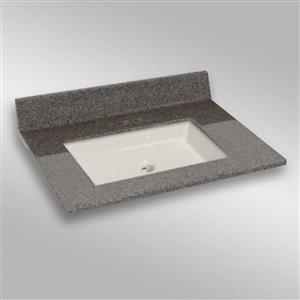 The Marble Factory 31-in x 22-in Bathroom Vanity Top with Square Sink - Carioca Stone
