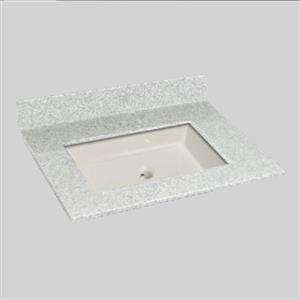 The Marble Factory 31-in x 22-in Bathroom Vanity Top with Square Sink - Willow Mist